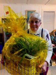 Bev Brownfield wins the gift basket drawing.